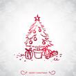 Christmas tree, festive background, cartoon drawing