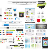 Large mix of web graphics and editable web templates