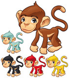 Funny monkey. Vector isolated character