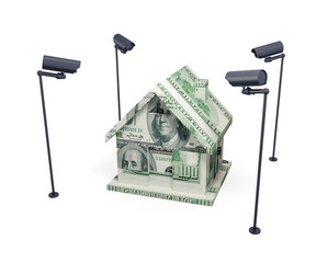 House made of money and observation cameras.