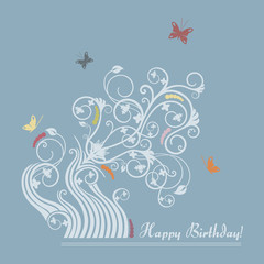 Cute floral happy birthday card