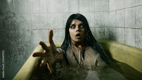 Scary girl in bath