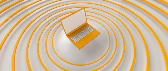 Yellow laptop sending yellow waves