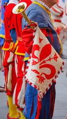 Suonatore di tromba nel corteo storico della Rufina