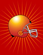 Red Football Helmet with Starburst Background! Vector eps8