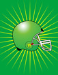 Green Football Helmet with Starburst Background! Vector eps8