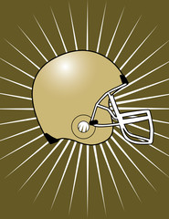 Brown Football Helmet with Starburst Background! Vector eps