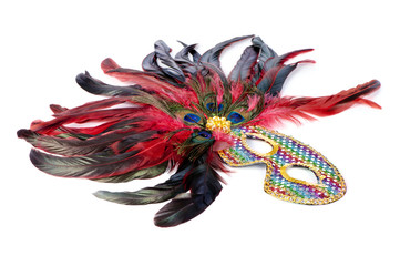 bright carnival mask with peacock feathers