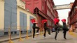Dance team dance synchronously in modern style