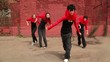 Dance team of four girls start dance synchronously