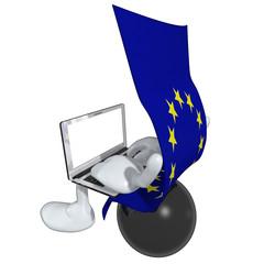 European Union Flag With Laptop