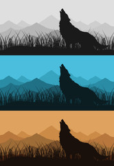 The wolf howls against mountain. A vector illustration