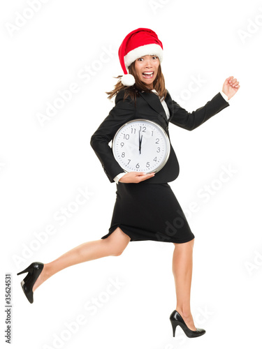 Christmas late busy business woman running against time