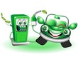 Benzina Verde Distributore e Auto Cartoon-Green Petrol Comics