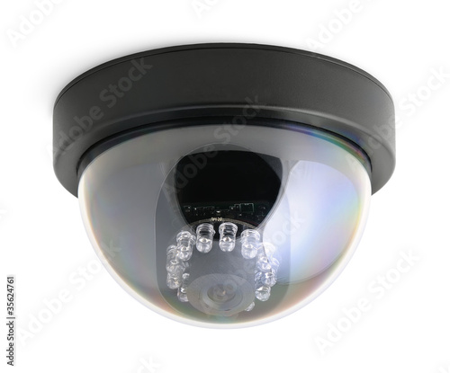 CCTV security camera isolated on white background