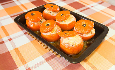 cooked baked stuffed tomato