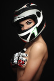 Woman in biker helmet