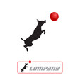 Logo dog jumping # Vector