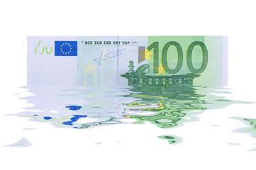 Hundert Euro zerflossen