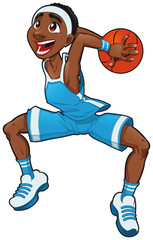 Basketball boy. Cartoon and vector isolated character