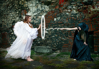 Magical battle between the witch and an angel