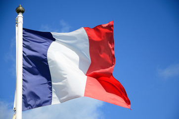 French Flag blowing in the wind