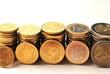 10 Cent bis 2 Euro Münzstapel