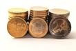 50 Cent, 1 Euro, 2 Euro Münzstapel