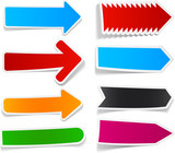 Fototapety Color arrows sticker set.