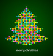 Xmas background with pixel Christmas tree