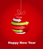 Typographic Xmas balls on the red background poster