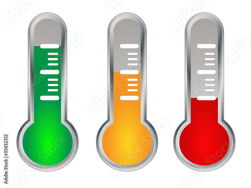 Traffic Lights Thermometer Icons (like satisfaction vote survey)