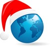 world Christmas ball, vector background