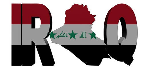 Iraq map text with flag illustration