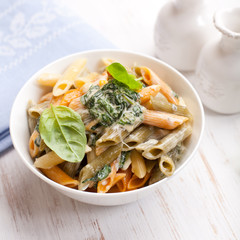 Penne with cream cheese sauce and spinach