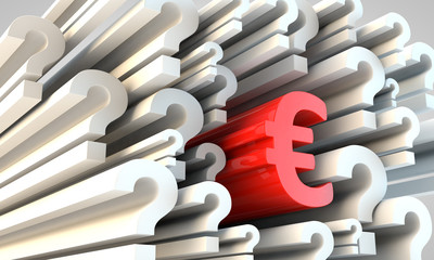 Symbol of Euro currency amongst question marks