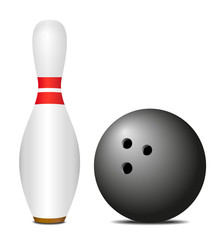 Skittle (pin) with black bowling ball