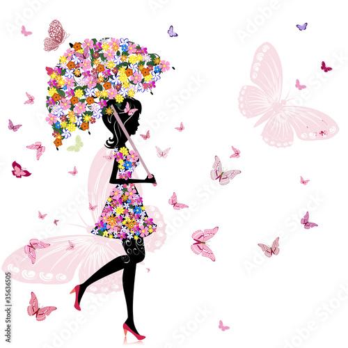 Fototapeta flower girl with umbrella