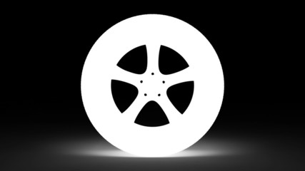 Aluminum wheel with tire rotation. Seamless loop.