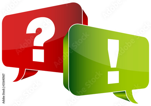 Speech Bubbles Question Red & Answer Green