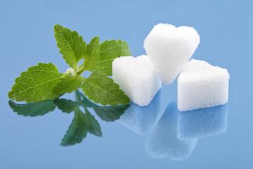 Stevia und Zuckerherzen
