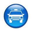 Boton brillante simbolo coche de policia