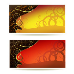 Colored background with curly gold decoration