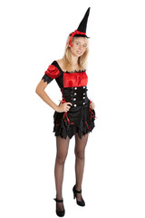 smiling teenager girl in Halloween witch