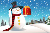 Fototapety Snowman holding Christmas present