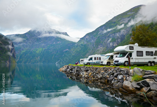 Foto op Canvas Kamperen Camping by fjord