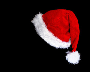 santa's hat isolated on black background