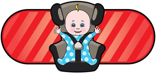Vector cartoon of baby in car seat