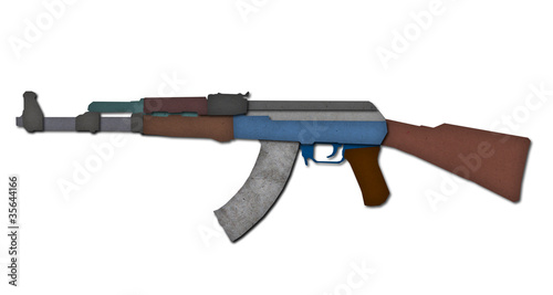 AK47 from recycled paper craft isolated.