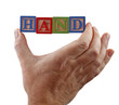 hand holds word